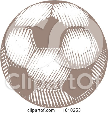 Clipart of a Sketched Brown Soccer Ball - Royalty Free Vector Illustration by cidepix