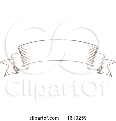 Clipart of a Sketched Brown Banner - Royalty Free Vector Illustration by cidepix