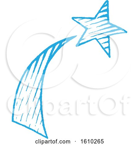 Clipart of a Sketched Blue Shooting Star - Royalty Free Vector Illustration by cidepix