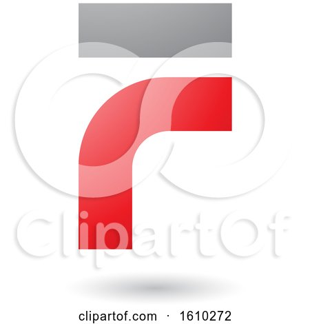 Clipart of a Red and Gray Letter F - Royalty Free Vector Illustration by cidepix