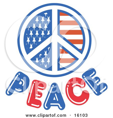 American Peace Symbol With Stars And Stripes Clipart Illustration by Andy Nortnik