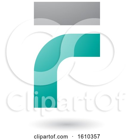 Clipart of a Persian Green and Gray Letter F - Royalty Free Vector Illustration by cidepix