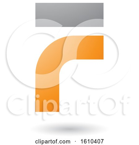 Clipart of an Orange and Gray Letter F - Royalty Free Vector Illustration by cidepix