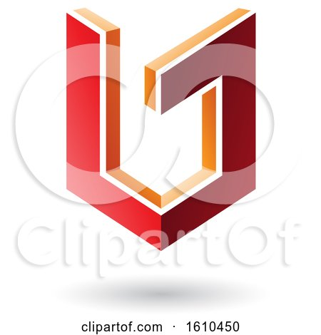 Clipart of a 3d Red and Orange Shield - Royalty Free Vector Illustration by cidepix