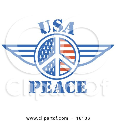 American Peace Symbol With Stars And Stripes and Wings Clipart Illustration by Andy Nortnik