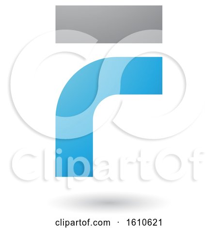 Clipart of a Blue and Gray Letter F - Royalty Free Vector Illustration by cidepix