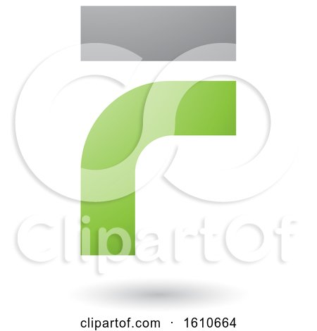Clipart of a Green and Gray Letter F - Royalty Free Vector Illustration by cidepix
