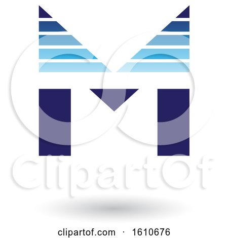 491a58e3e0844 Clipart of a Striped Blue Letter M - Royalty Free Vector Illustration by  cidepix