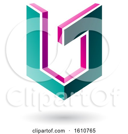 Clipart of a 3d Magenta and Green Shield - Royalty Free Vector Illustration by cidepix