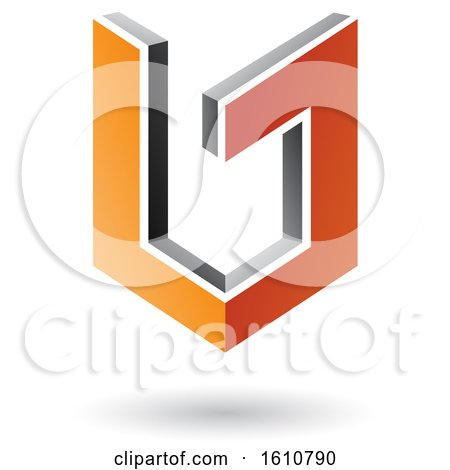 Clipart of a 3d Orange and Gray Shield - Royalty Free Vector Illustration by cidepix