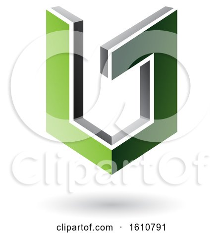 Clipart of a 3d Green and Gray Shield - Royalty Free Vector Illustration by cidepix