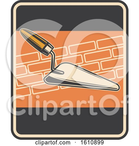 Clipart of a Retro Styled Masonry Trowel Design - Royalty Free Vector Illustration by Vector Tradition SM