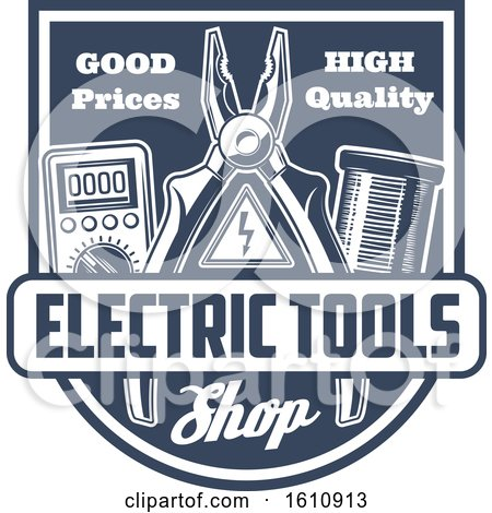 Blue and White Electric Tool Shield Posters, Art Prints