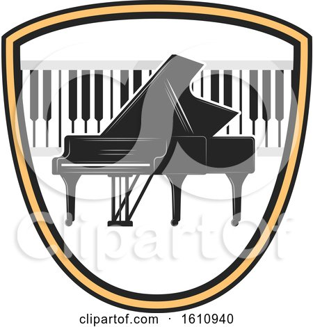 Clipart of a Piano and Keyboard in a Shield - Royalty Free Vector Illustration by Vector Tradition SM