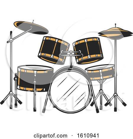 Clipart of a Drum Set - Royalty Free Vector Illustration by Vector Tradition SM
