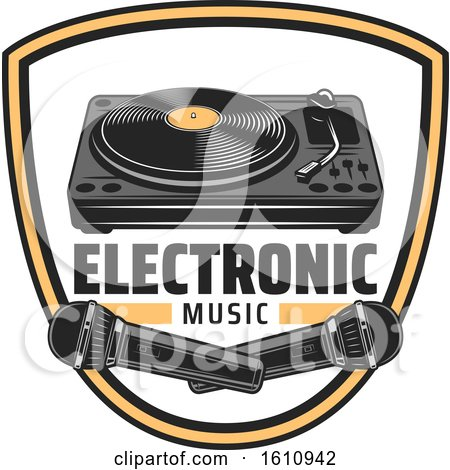Clipart of a Shield with Electronic Music Items - Royalty Free Vector Illustration by Vector Tradition SM