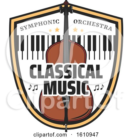 Clipart of a Bass or Cello and Keyboard in a Shield - Royalty Free Vector Illustration by Vector Tradition SM