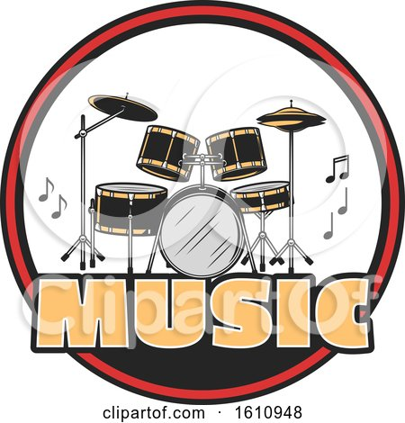 Clipart of a Drum Set in a Circle - Royalty Free Vector Illustration by Vector Tradition SM