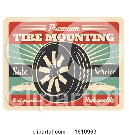Clipart of a Vintage Style Automotive Sign - Royalty Free Vector Illustration by Vector Tradition SM