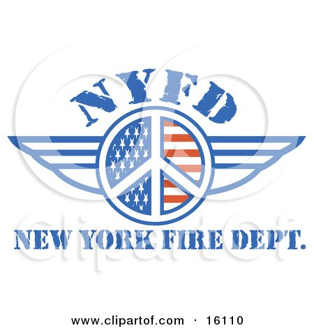Peace Symbol Of Stars And Stripes Around Nyfd With Wings Clipart Illustration by Andy Nortnik
