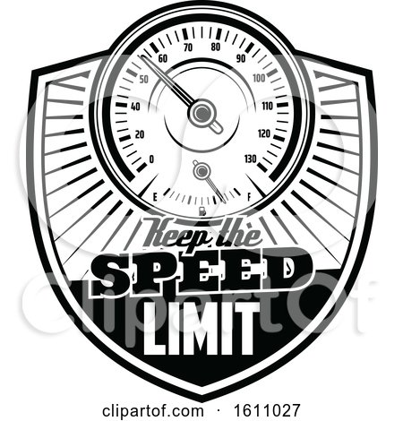 Clipart of a Black and White Automotive Design with a Speedometer - Royalty Free Vector Illustration by Vector Tradition SM