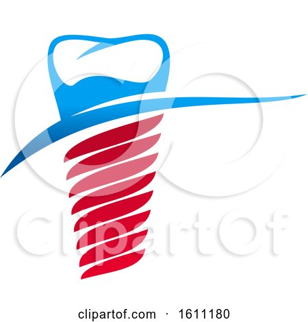 Clipart of a Red White and Blue Dental Implant Design with a Tooth - Royalty Free Vector Illustration by Vector Tradition SM