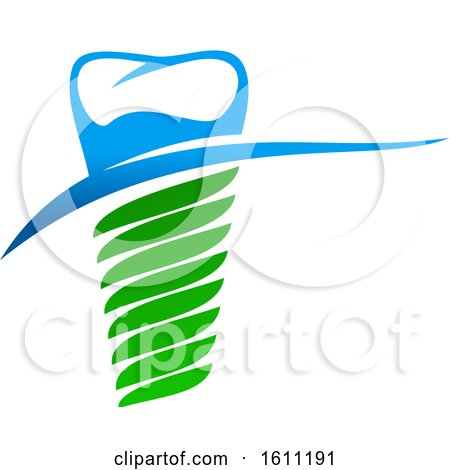 Clipart of a Blue and Green Dental Tooth - Royalty Free Vector Illustration by Vector Tradition SM