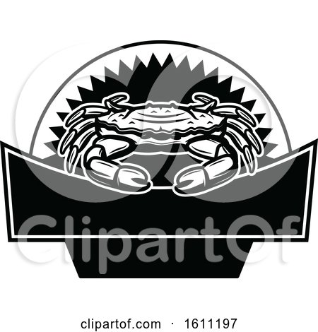 Clipart of a Black and White Crab Fishing Design - Royalty Free Vector Illustration by Vector Tradition SM
