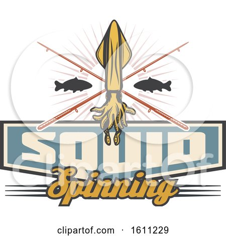 Clipart of a Squid Fishing Design - Royalty Free Vector Illustration by Vector Tradition SM