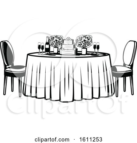 Incredible Clipart Of A Black And White Retro Table With Flowers And A Download Free Architecture Designs Scobabritishbridgeorg