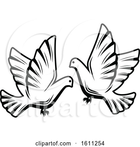 Clipart of Black and White Wedding Doves - Royalty Free Vector Illustration by Vector Tradition SM