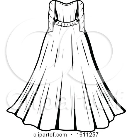 Clipart of a Black and White Wedding Gown - Royalty Free Vector Illustration by Vector Tradition SM