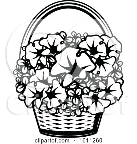 Black and White Basket of Flowers Posters, Art Prints
