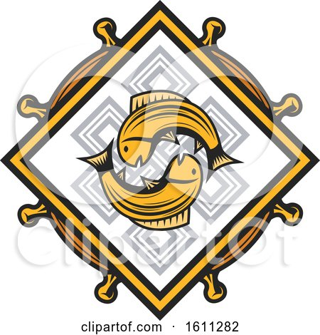 Clipart of a Golden Fish Endless Knot and Dharmachakra Design - Royalty Free Vector Illustration by Vector Tradition SM