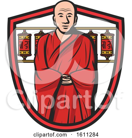 Clipart of a Monk in a Shield - Royalty Free Vector Illustration by Vector Tradition SM