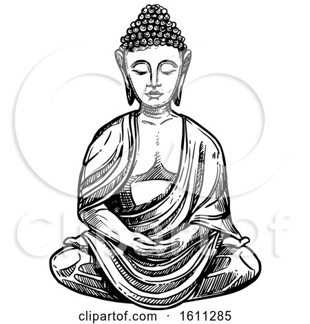 Clipart of a Sketched Black and White Buddha - Royalty Free Vector Illustration by Vector Tradition SM