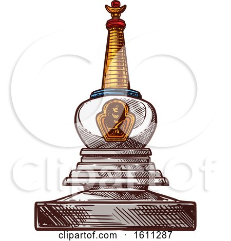 Clipart of a Sketched Buddhism Stupa - Royalty Free Vector Illustration by Vector Tradition SM