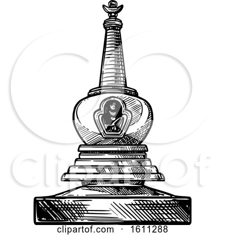 Clipart of a Sketched Black and White Buddhism Stupa - Royalty Free Vector Illustration by Vector Tradition SM