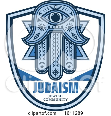 Clipart of a Blue Judaism Shield with a Hamsa Palm - Royalty Free Vector Illustration by Vector Tradition SM