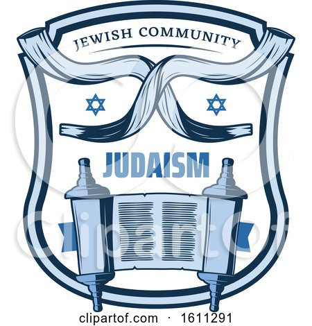 Clipart of a Blue Judaism Shield with the Torah - Royalty Free Vector Illustration by Vector Tradition SM
