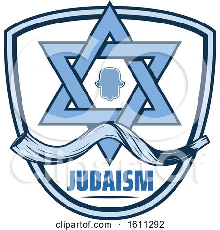 Clipart of a Blue Judaism Shield with the Star of David - Royalty Free Vector Illustration by Vector Tradition SM