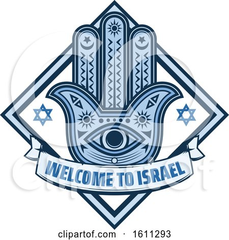 Clipart of a Blue Judaism Diamond with a Hamsa Palm - Royalty Free Vector Illustration by Vector Tradition SM