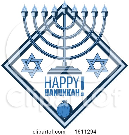 Clipart of a Blue Judaism Diamond with a Menorah and Happy Hanukkah Text - Royalty Free Vector Illustration by Vector Tradition SM
