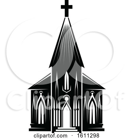 Clipart of a Black and White Church - Royalty Free Vector Illustration by Vector Tradition SM
