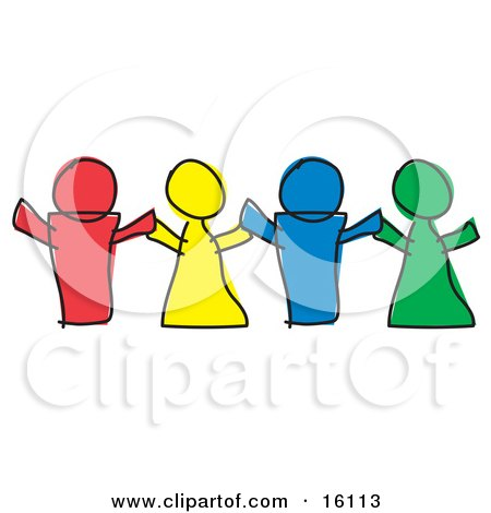 Red, Yellow, Blue and Green Paper Dolls or Children Holding Hands Clipart Illustration by Andy Nortnik