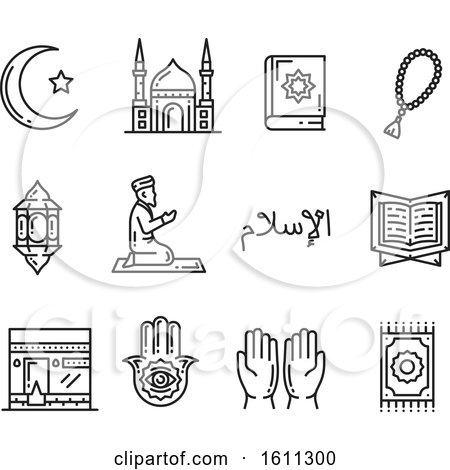 Clipart of Black and White Islam Icons - Royalty Free Vector Illustration by Vector Tradition SM