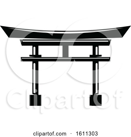 Clipart of a Black and White Torii Gate - Royalty Free Vector Illustration by Vector Tradition SM