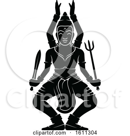 Clipart of a Black and White God - Royalty Free Vector Illustration by Vector Tradition SM