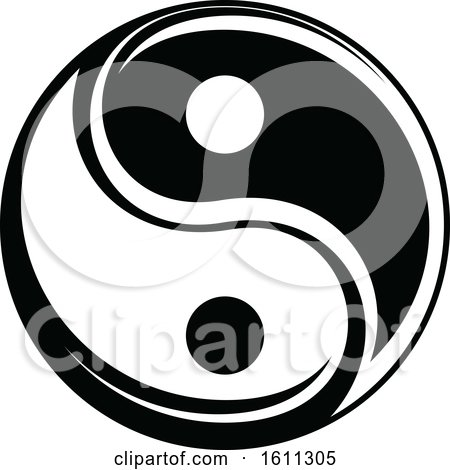 Clipart of a Black and White Yin Yang - Royalty Free Vector Illustration by Vector Tradition SM