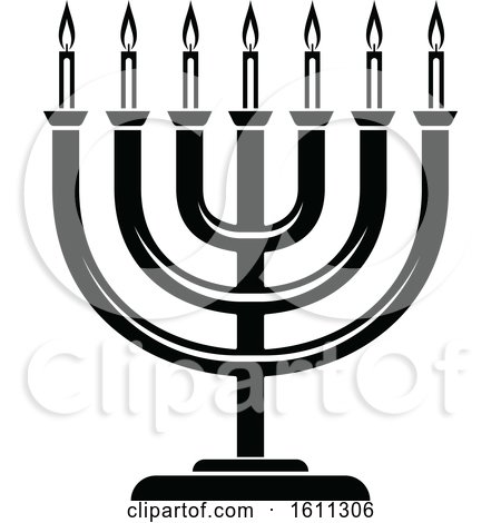 Clipart of a Black and White Menorah - Royalty Free Vector Illustration by Vector Tradition SM